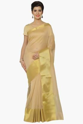 JASHN Women Chanderi Saree With Zari Border - 202382157