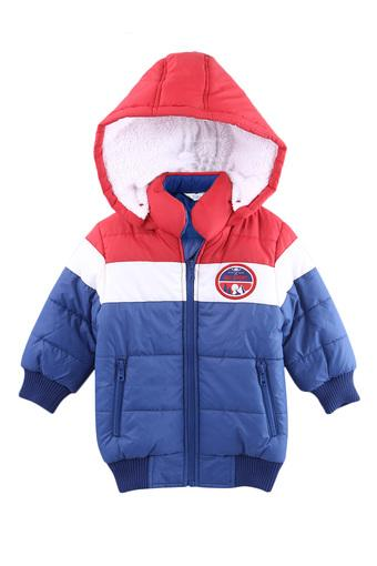 Boys Hooded Neck Colour Block Quilted Jacket