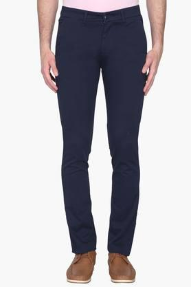 VDOT Mens Ultra Slim Fit 5 Pocket Solid Chinos  ...
