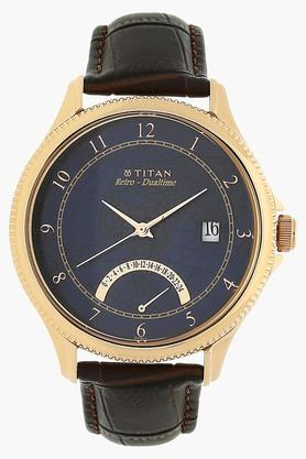 TITAN Mens Analogue Dual Time Leather Watch - 1704WL01