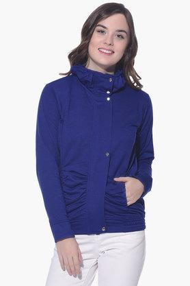PURYS Womens High Neck Solid Jacket - 201998853_9308