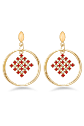 JAZZ Jazz Jewellery�A D Stone�Earring�Red & White Brass�Drop Earring