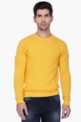 UNITED COLORS OF BENETTONMens Round Neck Solid Sweater