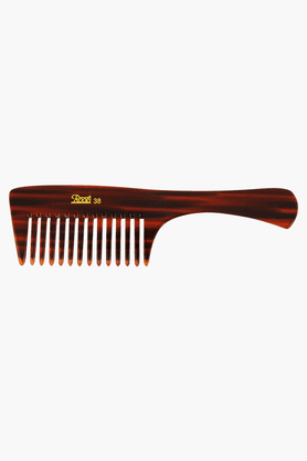 ROOTS Brown Wide Teeth Comb With Handle For Fine Wavy/ Curly Hair