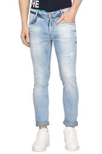 Mens 5 Pocket Heavy Wash Distressed Jeans