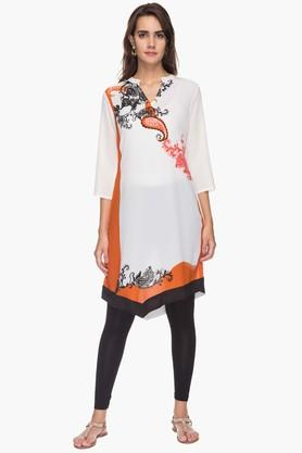 IMARA Womens Mandarin Neck Printed Tunic