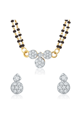 MAHI Mahi Gold Plated Bridal Chic Mangalsutra Set With CZ For Women NL1106001G2