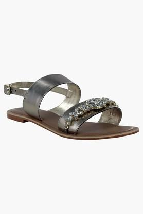 STEVE MADDEN Womens Party Wear Ankle Buckle Closure Flat Sandals