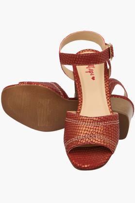 Womens Casual Wear Buckle Closure Heel Sandals