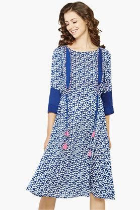 GLOBAL DESI Women's Dabbu Print Gathered Kurta