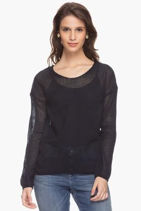 ELLE Womens Solid Knitted Top