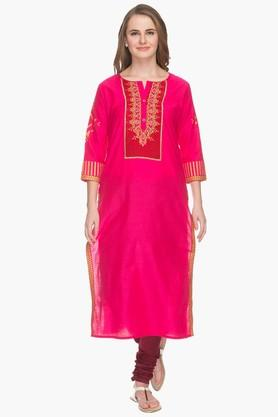 RS BY ROCKY STAR Womens Round Neck Printed Kurta  ...