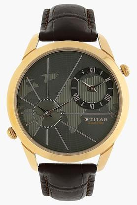 TITAN Mens Chronograph Dual Time Leather Watch - 1707WL01