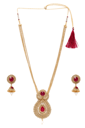 ZAVERI PEARLS Womens Gold Plated Long Necklace Set
