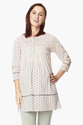 NINE MATERNITY Maternity Tunic In Geometrical Print