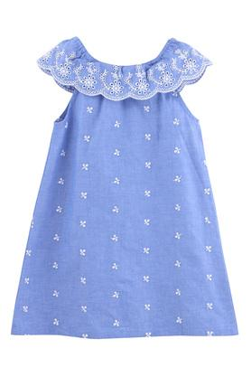 Girls Ruffle Neck Embroidered A-Line Dress