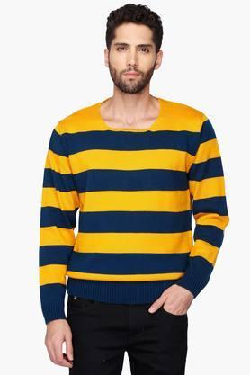 VETTORIO FRATINIMens Round Neck Stripe Pullover