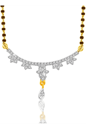 SPARKLES Gold Mangalsutra With Diamond Pendant Set N9407