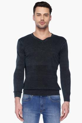SPYKAR Mens Slim Fit V Neck Slub Sweater