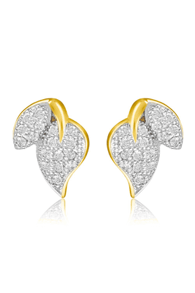 MAHI Mahi Gold Plated Micro Pave 2-Leaf Stud Earrings With CZ Stones For Women ER1109344G