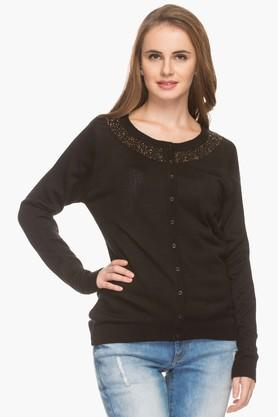 PARK AVENUE Womens Round Neck Solid Embellished Cardigan