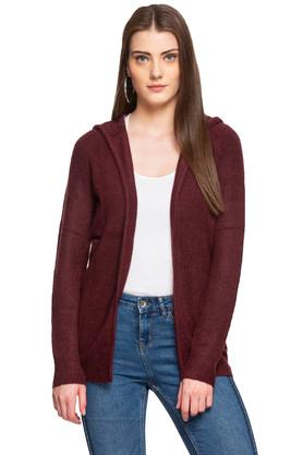 Womens Hooded Neck Solid Cardigan