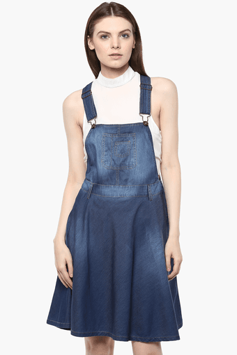 hot product clear-cut texture new collection Womens Denim Pinafore Dress