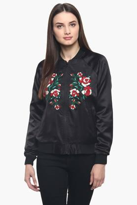 Womens Mao Collar Embroidered Jacket