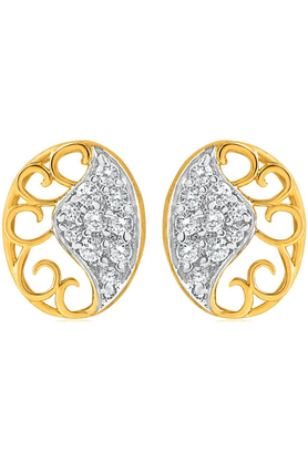 MAHI Gold Plated Oval Love Earring With CZ For Women ER1108452G