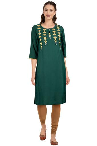 Womens Key Hole Neck Embellished Kurta