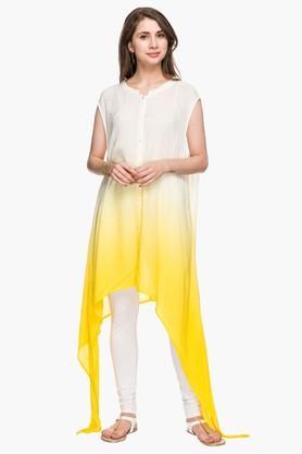 Womens Mandarin Neck Colour Block Asymmetrical Kurta