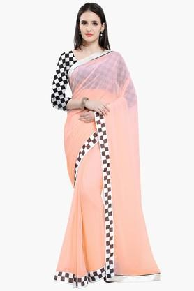 Women Faux Georgette With Lace Printed Saree
