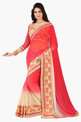DEMARCAWomens Embroidered Saree (Buy Any Demarca Product & Get A Pair Of Matching Earrings Free) - 201151772_9552
