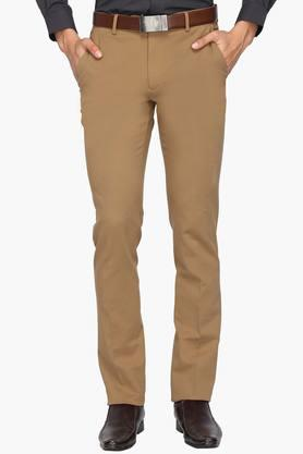 LOUIS PHILIPPE Mens Slim Fit 4 Pocket Solid Trousers