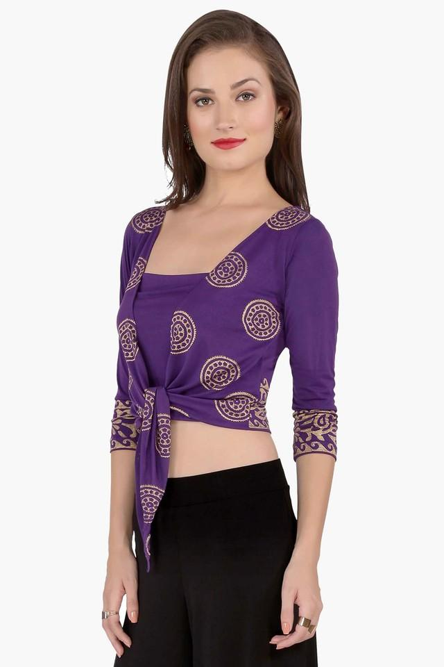 Womens Regular Fit Open Neck Printed Shrug