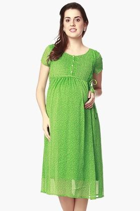 NINE MATERNITY Womens Round Neck Printed Dress - 202345127