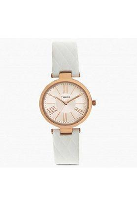 Womens Rose Gold Dial Leather Analogue Watch - TWEL11805