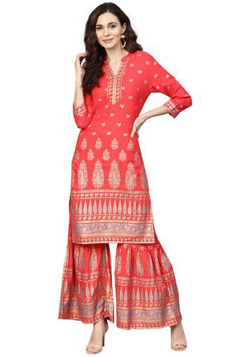 Womens A-Line Fit Mandarin Collar Printed Kurta and Sharara Set