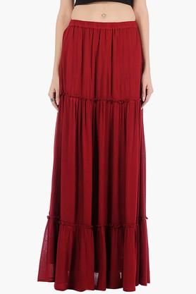 FABALLEY Womens Solid Long Flared Skirt