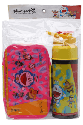 Unisex Chhota Bheem Water Bottle and Tiffin Box Combo Set