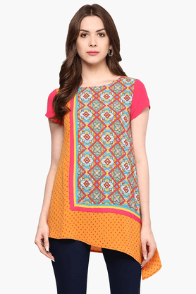 FUSION BEATS Womens Slim Fit Printed Top