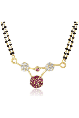 MAHIMahi Gold Plated Divine Mangalsutra Pendant With CZ & Ruby For Women PS1193505G2