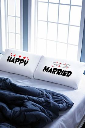 "STOA PARIS White Happy Married Pillow Talk Bed Linen (Pillow Cover 18"" X 27"" (2 Pcs)"