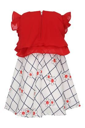 Girls Round Neck Solid Floral Printed Layered Dress