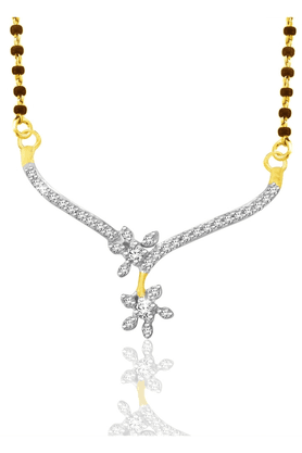 SPARKLES 18Kt Gold Mangalsutra With Diamond Pendant Along With Gold Plated Silver Chain And Black - 7499783
