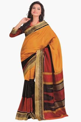 DEMARCAWomens Colour Block Gold Woven Saree