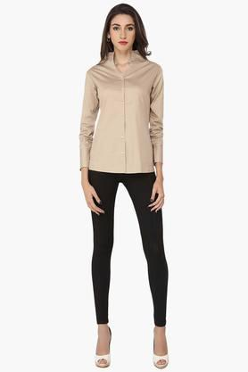 Womens Basic High Neck Shirt