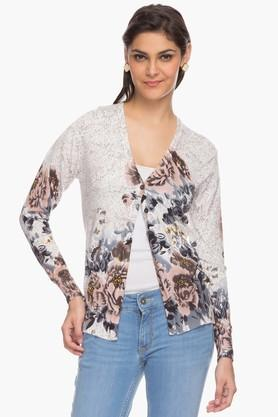 ONER Womens V Neck Printed Cardigan