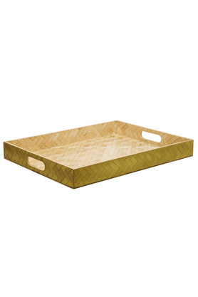 BACK TO EARTH Bamboo Rectangular Tray Grainy