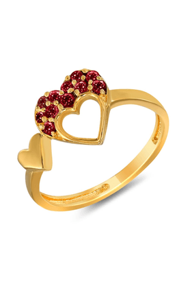 MAHI Mahi Valentine Love Gold Plated Red Heart Ring Made With Swarovski Elements For Women FR1104001GRed